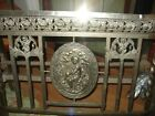 Antique French Art Deco Metal Bed Winged Cherubs Maiden and Roses Nickel Plate