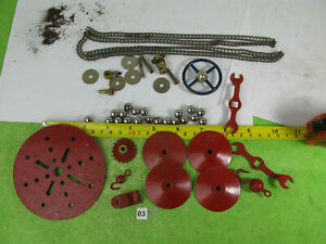 vintage meccano parts mixed lot red parts bearings chain etc n03