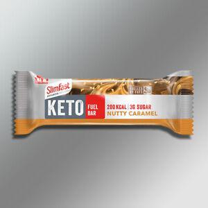12 x SlimFast Advanced Keto Fuel Nutty Caramel 46g Bars - Best Before End Oct 21