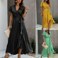 Womens Summer Bohemian Polka Dot Wrap V Neck Short Sleeve Split Maxi Dress AU