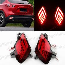 2x LED Rear Bumper Lens Reflector Tail Fog DRL Brake Lights for Mazda CX-5 13-16