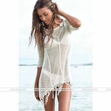 Sexy Lace Crochet Tassel Swimwear Cover Up Beach See Through Sundress Womens Hot