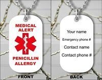 MEDICAL ALERT PENICILLIN ALLERGY EMERGENCY PERSONALIZED DOG TAG PENDANT -gfh7Z