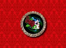 SUGAR SKULL PIN UP GIRL DAY OF THE DEAD ROSE TATTOO LAPEL PIN BROOCH