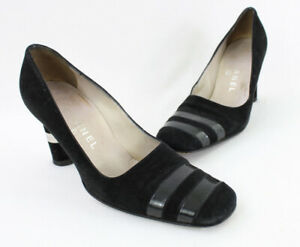Chanel Women's Black Suede Patent Leather Square Toe Heel Shoe Size 38.5 8.5