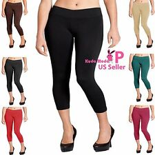 Women Seamless Basic Stretch Capri Sports Yoga Leggings Plus Size L XL 2XL