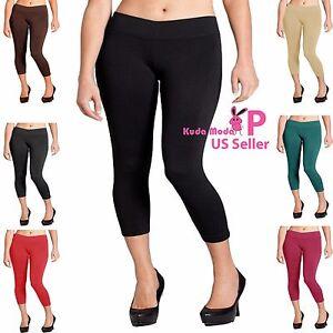 Women Seamless Basic Stretch Capri Sports Yoga Leggings Plus Size L XL 2XL
