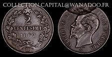 Italie / 2 Centesimi 1867 M / Manque de matière - Incuse / Vittorio Emanuele II