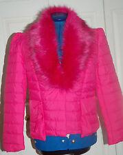 BNWT 10-12 Cerise Pink Padded Jacket Coat Large Removable Fluffy Collar Ruffle