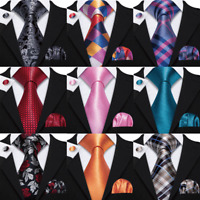 171 Styles Mens Silk Tie Necktie Pocket Square Cufflinks Set Red Blue Black Gold