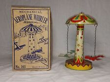 RARE VINTAGE 1920'S CHEIN & CO TIN WIND UP AIRPLANE PLANE CAROUSEL TOY & BOX !!!