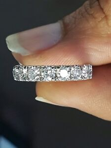 3.50ct Round Diamond Claw Set Full Eternity Wedding Ring, Platinum