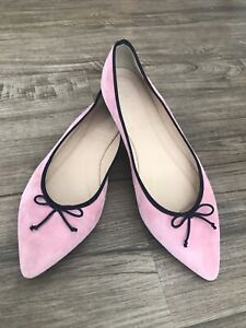 J. Crew Gemma Pink Suede Pointed Toe Flats Size 10