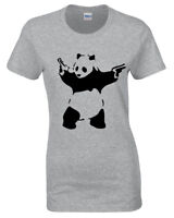 PANDA BANKSY WOMENS T SHIRT TEE FUNNY URBAN ART GRAFFITI HIPSTER FASHION LADIES