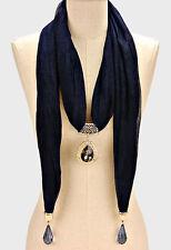 Navy Blue Crystal Rhinestone Teardrop FASHION Scarf Necklace