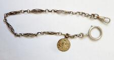 Chaine montre à gousset  ARGENT silver watch Albert chain Ste Genevieve medaille