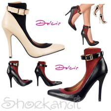 Womens Dolcis Ankle Strap High Back  Mid Heels Full Toe Black Burgundy Nude Size