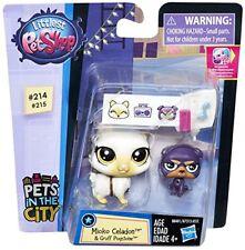 Littlest Pet Shop Mioko Celadon #214 & Gruff Pugstone #215 Siamese Cat Pug Puppy