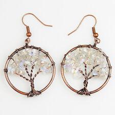 White Opal Opalite Chip Beads Tree of Life Reiki Chakra Copper Hook Earrings