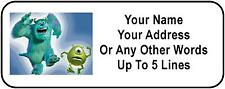30 Monsters Inc Personalized Address Labels