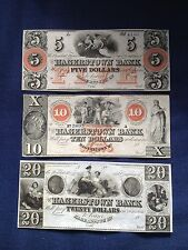 LOT OF 3- 1800s $20, $10, & $5 HAGERSTOWN BANK MARYLAND!!!!