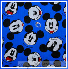 BonEful Fabric FQ VTG Blue Black White B&W Face L BOY DISNEY Mickey Mouse IMPORT