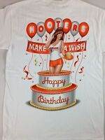 699b14f35 Hooters Hot Girl T-Shirt Happy Birthday Make A Wish Cleavage Pop Out Cake  Funny