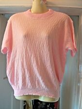 Pink Lightweight Acrylic Short Sleeve Knitted Top, Size 18