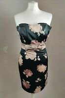H&M Women's Dress UK 10 Black Floral Print Sleevless Pencil Party Occasion NEW