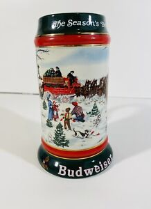 Budweiser 1991 Christmas Beer Stein Century Holiday Tradition Clydesdale Horses