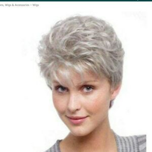 New Fashion Ladies Wigs Women's Wig Short Silver Grey Curly Natural Hair Wig