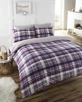 Tartan Check Print Duvet Quilt Cover Bedding Set
