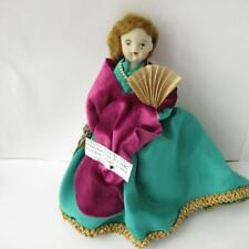 Vintage Doll w/ Porcelain Face + Limbs Red Hair Green Dress Victorian style 1953