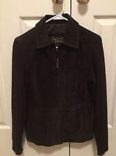 Fabio suede leather zip up Jacket Blazer light coat knit sleeves SIZE S