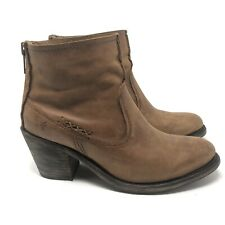 Frye Size 9.5 Leslie Artisan Short Ankle Booties Boots Cognac Brown Leather