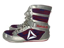 Reebok Combat Mens Boxing Boots Silver Red Blue Combat MMA Shoes