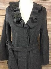 CYNTHIA ROWLEY Petite Gray Wool Floral Ruffle Cardigan Sweater Jacket Sz PM