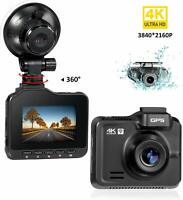 Dual Dash Cam Front 4K Rear HD 1080P Car Camera 3840x2160P WiFi GPS Night Vision