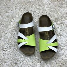 Birkenstock Papillio women's size 38 sandals white Lime Green