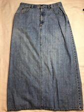 Crazy Horse Long Denim Skirt Size 10 Blue Modest Maxi Jean Zip Fly A-Line