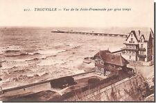 CPA 14 - TROUVILLE - Vista de postal- la paseo muelle por mar gruesa tiempo