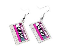 Cassette Tape Earrings 80s 90s Funky Cute Kitsch Retro Cool Fun Novelty