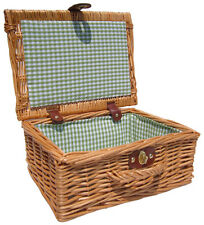 Traditional Natural Wicker Christmas Gift Hamper Basket GREEN GINGHAM Lining 12""