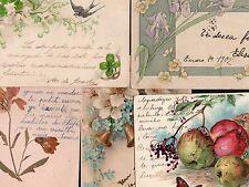 New Year Greetings 5 Vintage Ca1900 Postcards Flowers Lyrium Bell Swallow Clover
