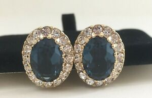 Vintage Signed Attwood & Sawyer (A&S) Sapphire Blue & Clear Paste Clip Earrings