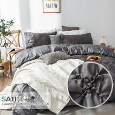 Grandekor Satin Bettwäsche Bettbezug Bettwaren mit Kissenbezug Reißverschluss