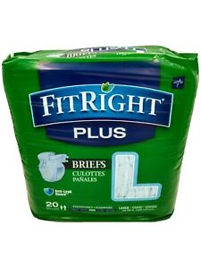 MEDLINE FitRight Plus Briefs Large Pack of 20 Incontinence Aid Unisex New Sealed