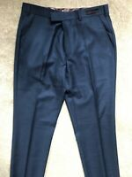 "TED BAKER MEN'S BLUE ""BOBTRO"" MODERN FIT 100% WOOL TROUSERS PANTS - 32R - NEW"
