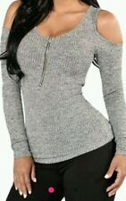 Grey Cold Shoulder zip Long Sleeves Sweater Top jumper Size Uk 10-12-14 availabl