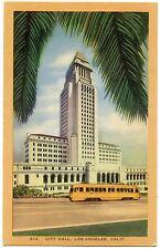 B6844 City Hall Los Angeles CA Streetcar Linen Postcard Longshaw Card Co. No.614